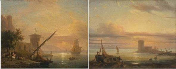 marina con barche e pescatori porto di mare con cavalieri e veliero alla fonda pair by massimo dazeglio