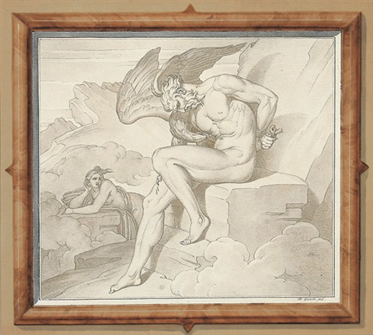 prometheus vom adler gepeinigt links von ihm beklagt echo seine qualen by bonaventura genelli