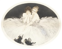 four aquatints, 1920 and 1922 by louis icart