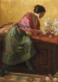 elegant lady arranging flowers by johannes willem simon de groot