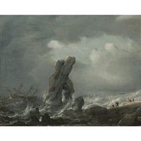 ships in distress off a rocky coast by julius porcellis