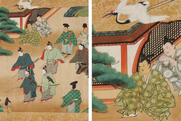 cinq scènes du conte takétori monogatari by japanese school tosa 17