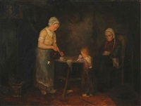 a peasant family taking tea by simon duiker