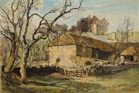 paesaggio raffigurante waddon manor nel dorset by oliver hall