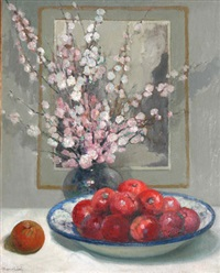 prunus et pommes rouges by marie marguerite reol