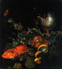 stilleben mit früchten, hummer und nautilus by ottmar elliger the elder
