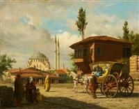 partie in istanbul mit der eyüp-sultan-moschee im hintergrund by louis emile pinel de grandchamp