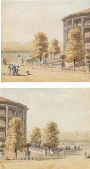 views of the rotunda, ranelagh gardens, chelsea (pair) by thomas malton the younger
