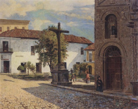 figures by a cross in a south american town by emilio moncayo