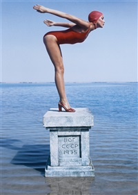 jerry hall, russia, vogue (diptych) by norman parkinson