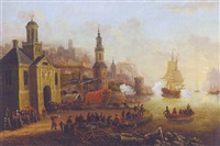 a mediterranean port with a warship exchanging salutes with a battery, townsfolk and fishermen in the foreground by huig van dorre-wiltschut