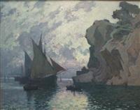bateau dans la calanque le soir by antoine ponchin