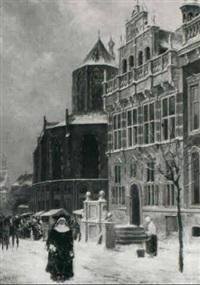 a view of a town by willem de haas-hemken