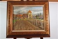 eglise dans un paysage viticole by pierre lioret