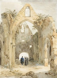 trois hommes dans une église en ruines by charles caius renoux