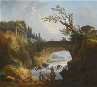 river landscape with washerwomen in the foreground, an arched bridge and ruined temple set high on the river bank beyond by hubert robert