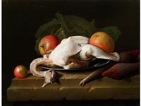 stilleben mit gerupftem huhn, äpfeln und rüben by pieter jacob horemans