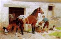 vor dem pferdestall by hans (johann) haag