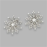 pair of snowflake earclips by fred leighton