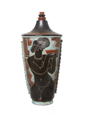 A Large Art Deco Ceramic Vase And Cover By Ren Buthaud On Artnet