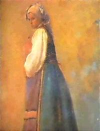 la moza del cantaro; campesinacharra by josé alcázar tejedor