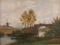 paysage au moulin animé d'un paysan et d'une vache sur un pont by marie-victor-emile isenbart