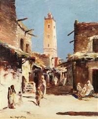 promeneurs près de la mosquée de tolga, walkers near the tolga mosque by maurice legendre