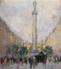 piazza con figure by eugenio scorzelli