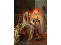 a semi-nude lady seated beside a lamp in a boudoir by delphin enjolras