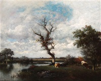 cattle in a river landscape by jules dupré