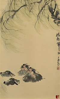 风雨归牧图 (shepherds riding buffalos) by li keran