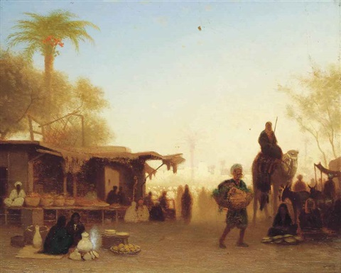a cairo bazaar at dusk by charles théodore (frère bey) frère