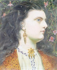 portrait of a woman, wearing a gold, embroidered jacket, a white blouse with blue foliate edge and a brooch by emma sandys