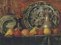 still life with fruit, plates and jugs by charles dankmeijer