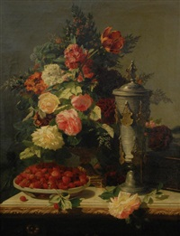 floral still life with strawberries and tankard by jean-baptiste robie