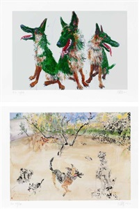 three tt/ dogs running in the spring (set of 2) by zhou chunya