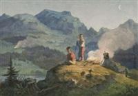 kinder beim lagerfeuer auf einem hügel by franz napoleon heigel