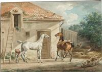 edle pferde vor einem stall by albrecht adam