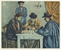 les joueurs des cartes (by jacques villon) by paul cézanne