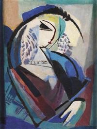 portrait de femme en bleu (marthe arnould) by reynold arnould