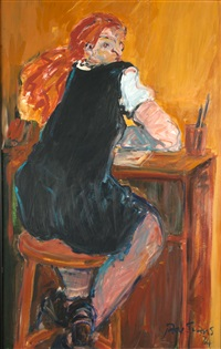 study of girl at a desk by jane evans