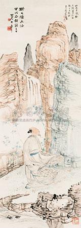 仿石涛人物山水 by zhang daqian