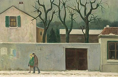 two peasants in a snowy street 2 others 3 works by johannes petrus josephus jan franken