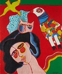 femme et oiseau by corneille