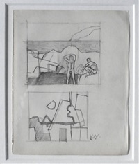 2 studies - bathers and buildings by keith vaughan