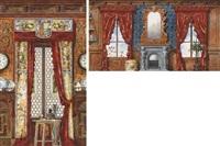 vue d'un intérieur avec une cheminée entre deux fenêtres (+ un intérieur avec un vitrail et des rideaux surmontés d'un blason, larger; 2 works) by johannes weber