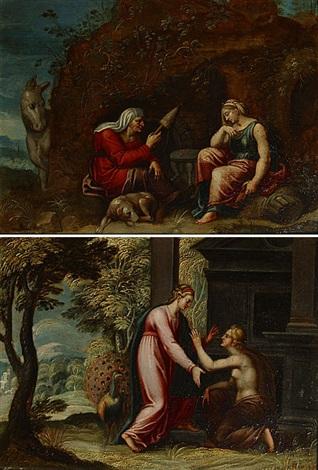 vrouwen bij de grot en zondares pair by hans rottenhammer the elder