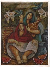 mujeres con cántaros y flores by aida emart