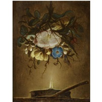 still life with a bouquet of flowers hanging above a candle by evert van aelst