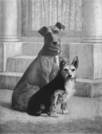 best friends, hound and terrier by j. myers